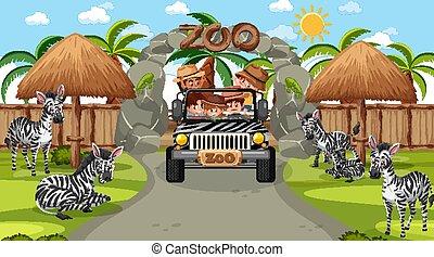 safari, zebra, niños, escena, mirar, día