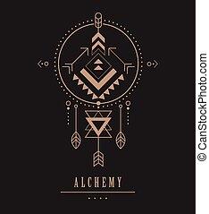 sagrado, símbolo, azteca, esotérico, formas, negro, geometría, místico, icono, tribal, alquimia