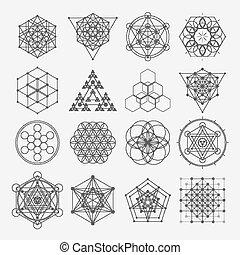 sagrado, símbolos, geometría, vector, diseño, espiritualidad, hipster, alquimia, religión, elements., filosofía