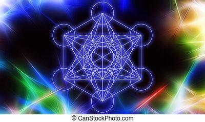 sagrado, structure., geometry., plano de fondo, merkaba, color, fractal, resumen, luz