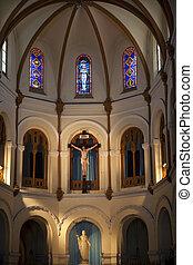 saigon, basílica, notre, catherdral, parte, interior, dama, vietnam