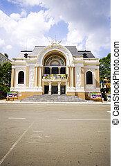 saigon, calle, espacio, casa de ópera, vietnam