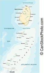 Saint Vincent y el mapa de las granadinas