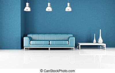 Salón azul moderno