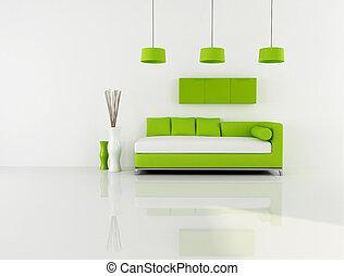 Salón blanco y verde