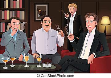 salón, cigarro, gente