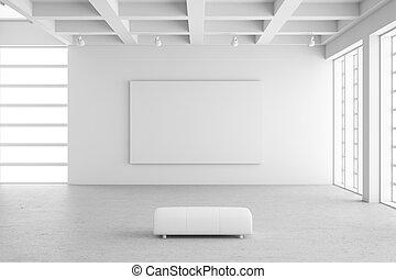 Salón de exposición vacío con un marco vacío