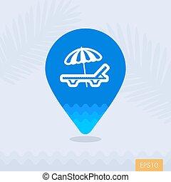 Salón de la playa con el símbolo del mapa de paraguas