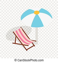 Salón de la playa con icono de paraguas