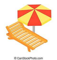 Salón de la playa con icono paraguas