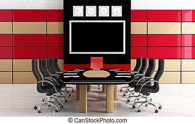 Salón de reunión negro y rojo