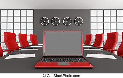 Salón de reunión rojo y negro