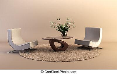 salón, estilo, sitio moderno
