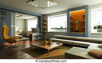 salón, interior, sitio moderno