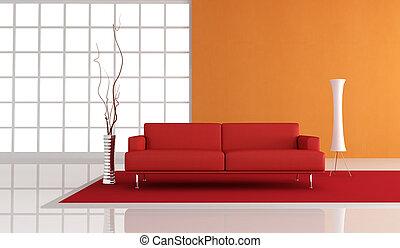 Salón rojo y naranja
