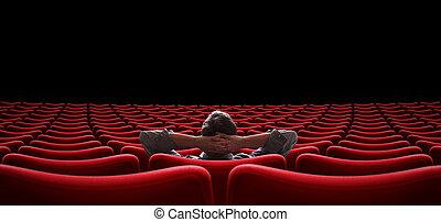 Salón vacío con un hombre solitario sentado en 3D ilustración