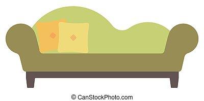 Salón verde con almohadas.