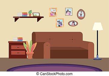 Sala de buceo con sofá y fotos familiares
