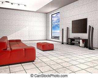 Sala de cine con sofá rojo. Ilustración 3D