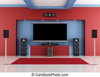 Sala de cine rojo y azul