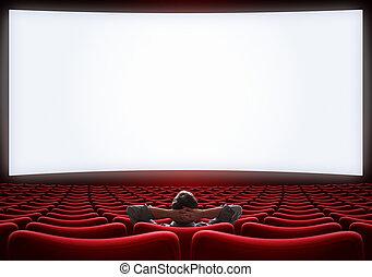 Sala de cine vacía con un hombre VIP solitario sentado en 3d ilustración
