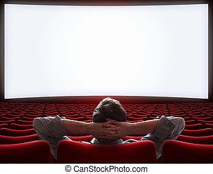 Sala de cine vacía con un solitario VIP sentado en una ilustración 3D