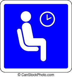 Sala de espera libre signo azul