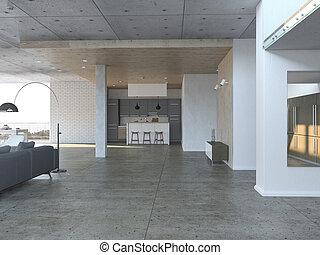 Sala de estar abierta con cocina
