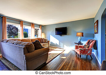 Sala de estar azul claro