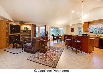 Sala de estar espaciosa. Cocina y comedor