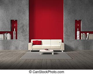 Sala de estar ficticia con pared marrón