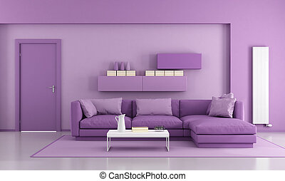 Sala de estar moderna púrpura