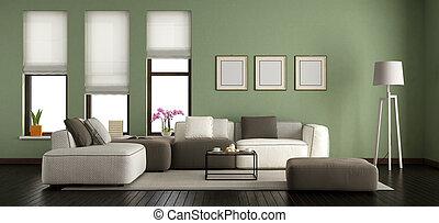 Sala de estar moderna verde