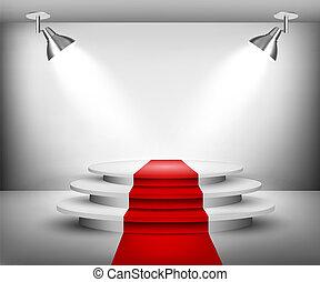 sala de exposición, carpet., rojo, vector.