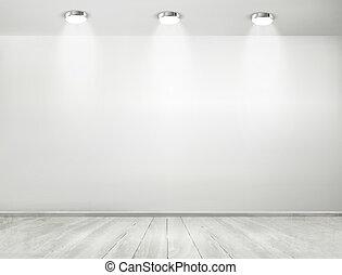 sala de exposición, floor., concept., de madera, proyectores, vector., gris, habitación