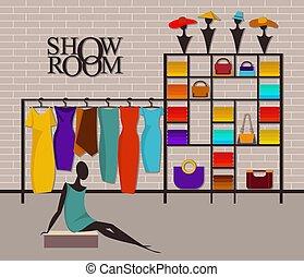 sala de exposición, interior, moderno, desván, moda