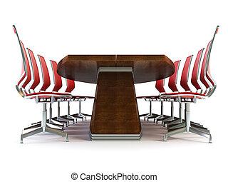 Sala de juntas con mesa y sillas