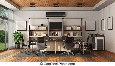Sala de juntas moderna con mesa de reunión