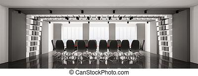 Sala de juntas moderna, panorama 3D