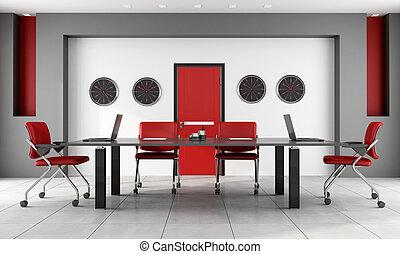 Sala de juntas roja y negra