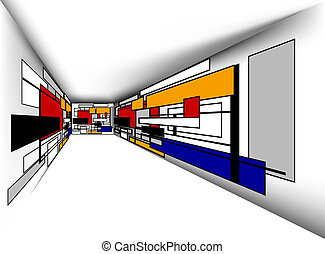 Sala de perspectiva colorida