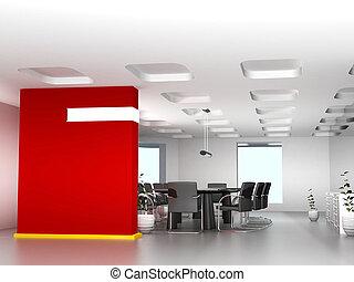 Sala de reuniones de negocios en el cargo con decoración moderna