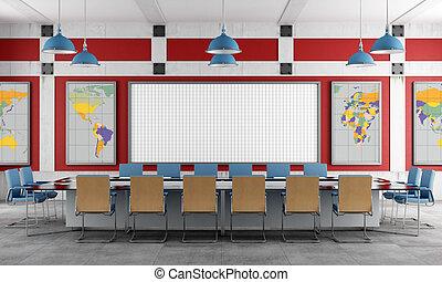 Sala de reuniones rojo y azul