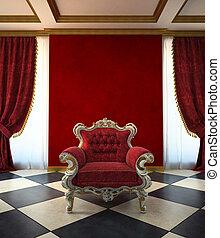 Sala de sillón rojo al estilo clásico