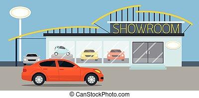 sala exposición coche, ilustración