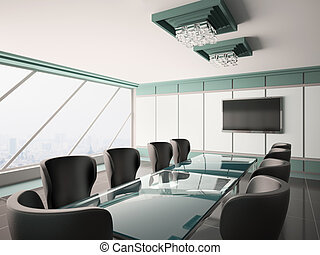 sala juntas, interior, moderno, 3d