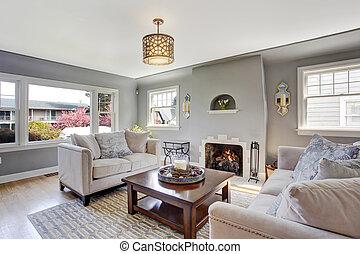 sala, luz, gris, sofás, blanco, chimenea