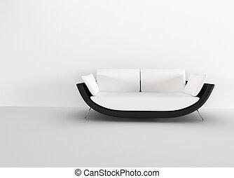 sala, rendering., moderno, -, interior., brillante, sofá, minimalism, vacío