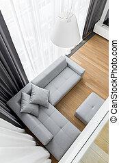 sala, sofá, esquina