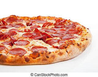 salchichones, plano de fondo, pizza, blanco